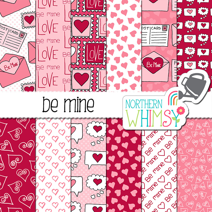Here is a cute Valentine's digital paper set! The hand-drawn patterns include hearts, envelopes, postcards, thought bubbles, and stamps. The colors in this package are pink, white, and raspberry red.