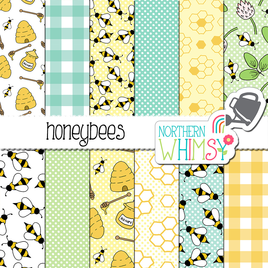 This bee digital paper includes twelve hand drawn honeybee seamless patterns. The individual patterns include bees, honeycomb, beehives, honey pots, and clover. The colors in this package are blue, yellow, and mint green.