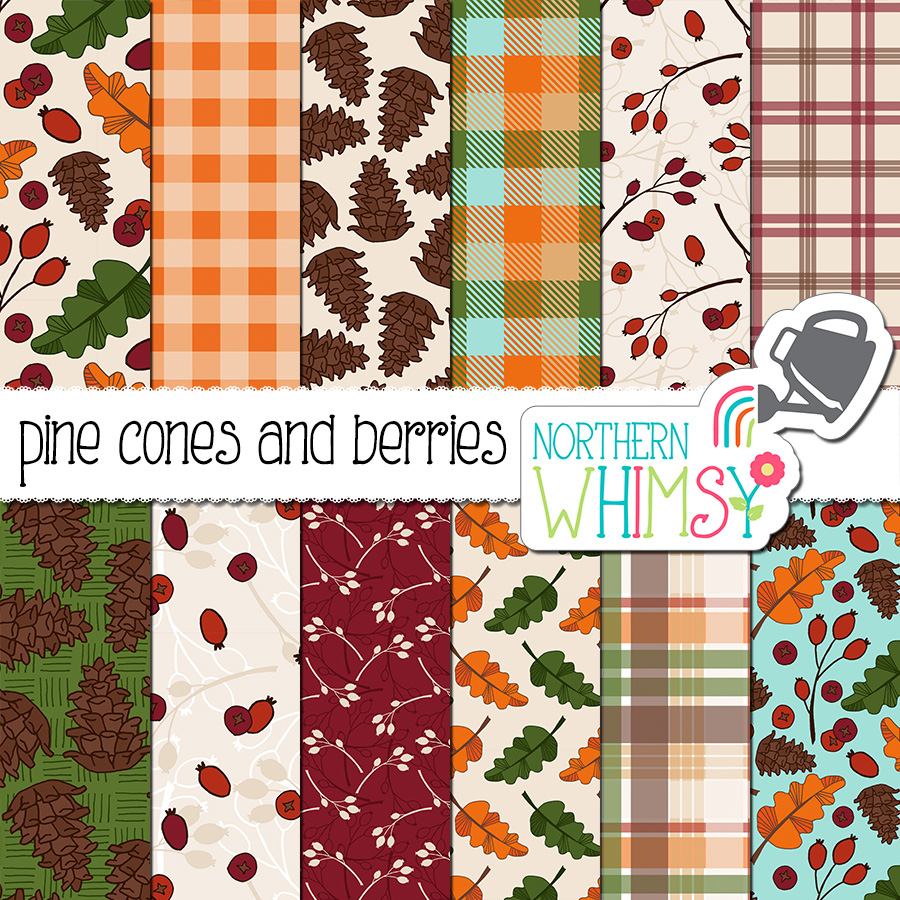 This fall digital paper package includes twelve papers with various fall themed hand-drawn seamless patterns, including pine cones, berries, and falling leaves, as well as coordinating plaids. The colors in this package are red, orange, gold, olive green, aqua blue, tan, and brown.