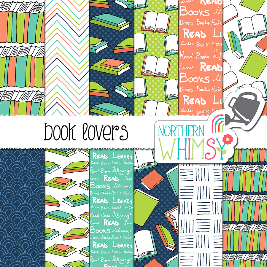 Great for book lovers! This book digital paper package includes twelve hand drawn seamless book patterns and coordinating geometrics. The colors in this package include navy, coral, lime green, and aqua blue.