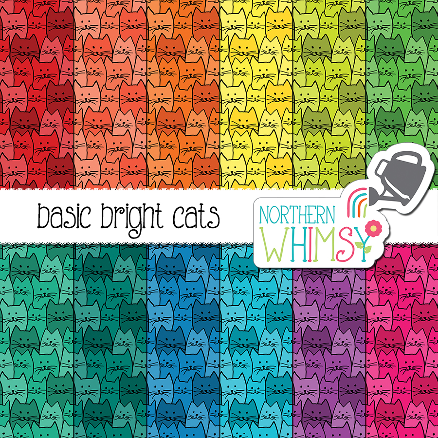Love cats? We do, too! This bright cat digital paper set includes a hand-drawn seamless cat pattern in twelve color variations. The colors in this package include red, coral, orange, yellow, lime green, bright green, teal, turquoise, blue, purple, and hot pink.