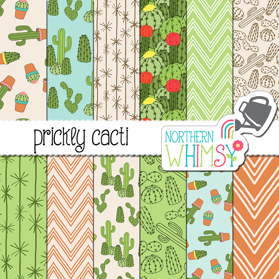 "Love cacti? This cactus digital paper is for you! This ""Prickly Cacti"" package includes twelve digital papers with hand drawn seamless patterns. The patterns include various desert and houseplant cactus illustrations. The main colors in this package are taupe, green, and terra cotta orange."