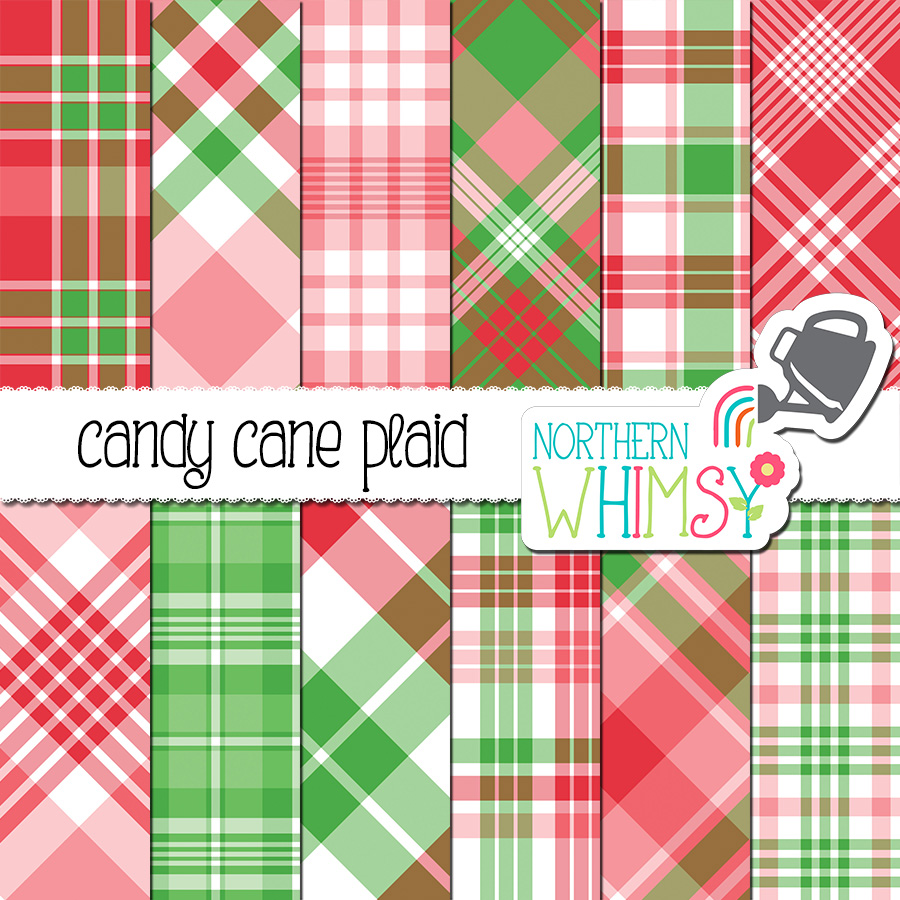 Here is a Christmas-y pink red and green plaid digital paper set. These plaids coordinate with our our hand drawn candy cane patterns: Candy Cane Digital Paper.