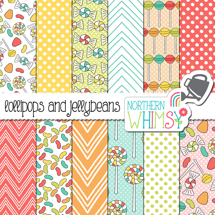 This candy digital paper set includes hand-drawn seamless patterns featuring lollipops, wrapped candy, jellybeans, and geometric coordinates. The colors in this package are pink, peach, yellow, mint green, and light blue.