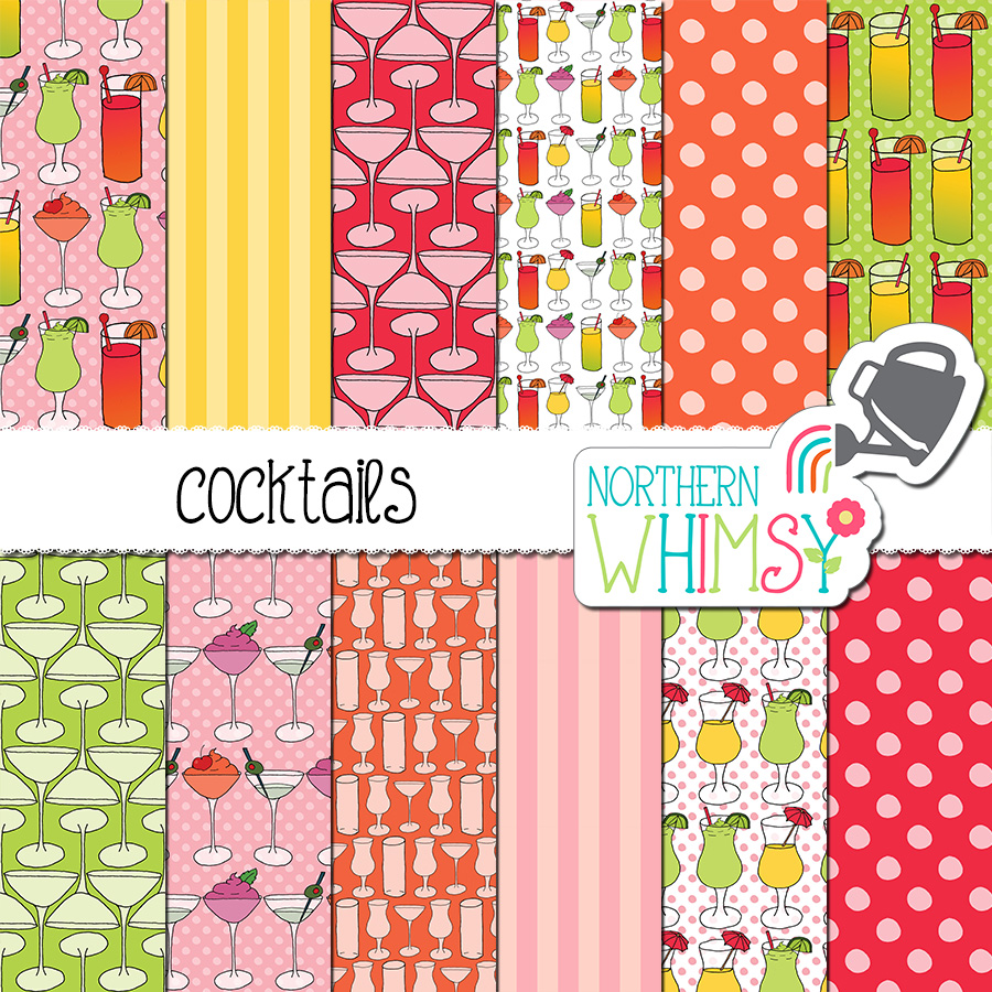 Here is a fun cocktails digital paper set - great for summer crafts and projects! The package includes twelve seamless hand drawn cocktail themed patterns and coordinating geometric patterns. The colors in this package are pink, coral, yellow, orange, and green.