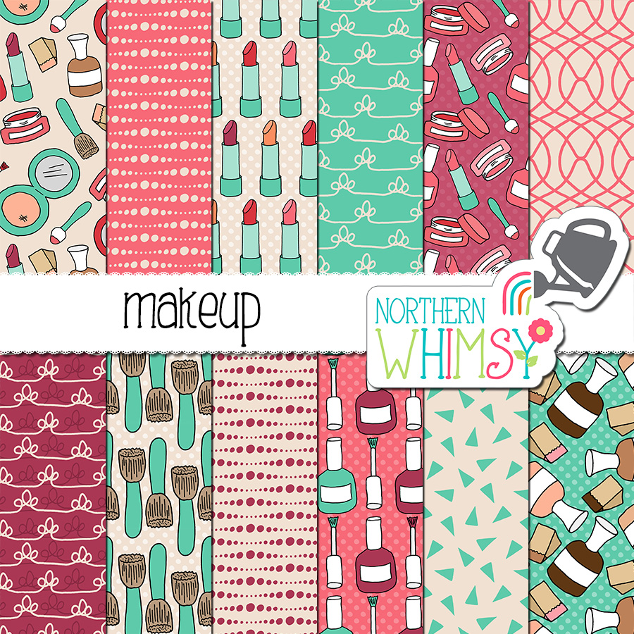 Here is a set of makeup seamless patterns. The package includes twelve cosmetics digital papers, with hand drawn seamless patterns. The patterns include lipstick, eye shadow, foundation, nail polish, makeup brushes, and coordinates. The colors in this package are pink, purple, and turquoise.