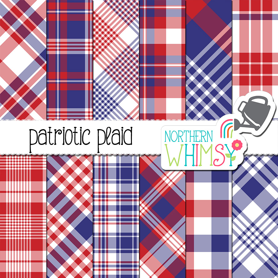 This patriotic red, white, and blue plaid set includes twelve 12x12 inch (30.5 x 30.5 cm) digital papers with plaid patterns - perfect for Fourth of July projects!