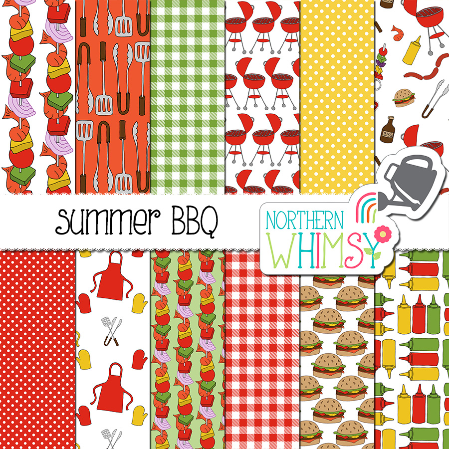 These BBQ patterns are great for summer-themed projects. This package includes twelve digital papers with various BBQ themed patterns- condiment bottles, burgers, aprons, and barbeques. The colors in this package include red, yellow, and green.