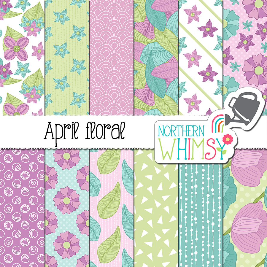 April Floral Digital Paper Northern Whimsy Design