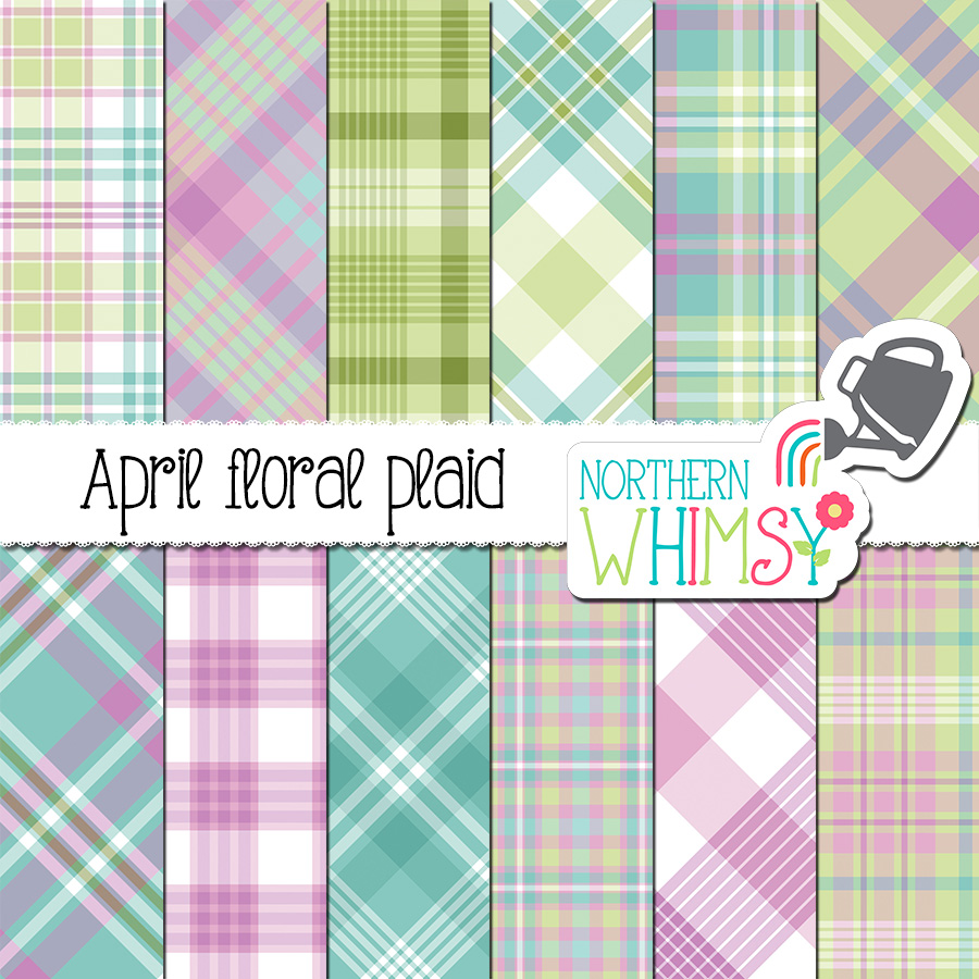 The April Floral plaid package includes twelve digital papers with plaid patterns in purple, mint, and pastel blue. This set coordinates with our April Floral set, which includes hand drawn seamless patterns, geometric coordinates, and a clip art set.