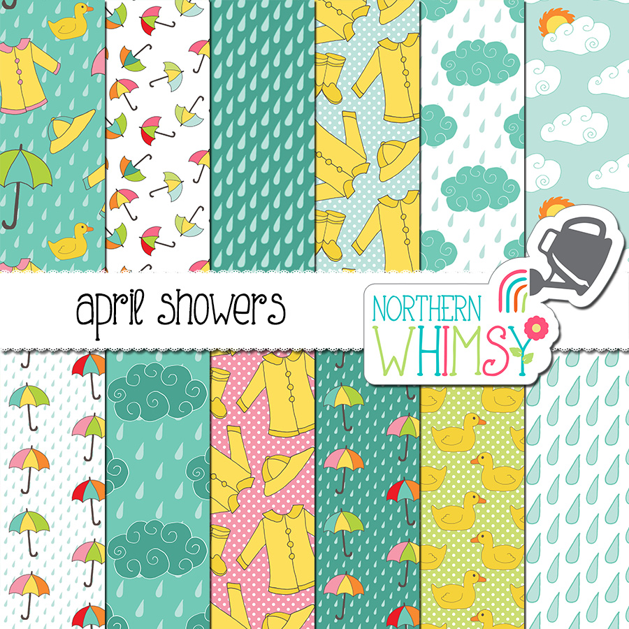 The April Showers spring digital paper package includes twelve digital papers with various rainy day patterns, including clouds, rain, raincoats, umbrellas, and rubber duckies. The colors in this set include blue, yellow, pink, and mint green.