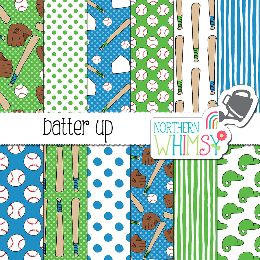The Batter Up baseball digital paper set includes twelve hand drawn seamless patterns. The patterns include baseballs, bats, batter's helmets, and bases. The main colors in this set are blue and green.