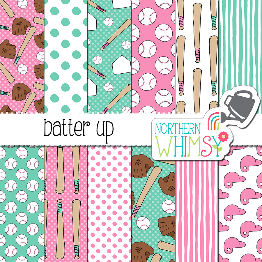 These Batter Up baseball digital papers in pink and turquoise are perfect for a girl's baseball themed project. This package includes twelve hand drawn seamless patterns. The patterns include baseballs, bats, batter's helmets, and bases. The main colors in this set are pink and turquoise.