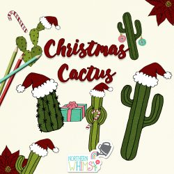 This Christmas clipart package includes fifteen hand-drawn Christmas illustrations: eight cacti with various Christmas themed goods, one candy cane, three Christmas ornaments, a Santa hat, a poinsettia flower, and a wrapped Christmas gift. The primary colors in this set are pink, green, red, and aqua blue.