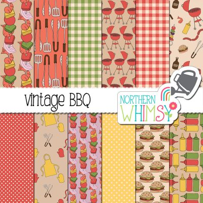 This BBQ Digital Paper set is a color variation on our Summer BBQ set, with more vintage-style colors. The package includes BBQ themed patterns- condiment bottles, burgers, aprons, barbeques - as well as coordinating geometric patterns. The colors in this package include yellow, green, red, and tan.
