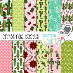 "Here is a super-fun Christmas digital paper pack: ""Christmas Cactus!"" The patterns include cacti in Santa hats, Christmas lights, gifts, poinsettia flowers, and snowflakes. The colors in this package are pink, aqua blue, lime green, dark green, and deep red."