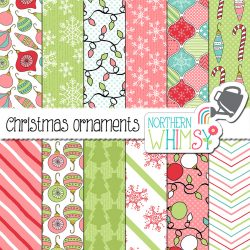 This set of Christmas seamless patterns is a color variation on our Red and Green Christmas Ornaments Digital Paper. The patterns include snowflakes, trees, and various Christmas ornaments. This package features pink, mint green, and aqua blue.