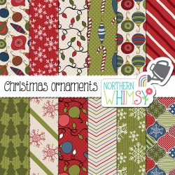 Check out this Christmas digital paper! The package includes twelve hand-drawn seamless patterns with snowflakes, trees, and Christmas ornaments. This set has a more traditional color palette, with olive green, raspberry red, and navy blue.