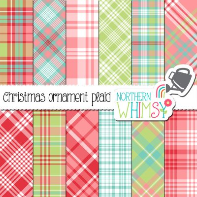 This pink, mint, red, and blue plaid digital paper set includes twelve plaid patterns in pink, mint green, aqua blue, and red. The diagonal patterns are not seamless, but the vertical/horizontal plaids are seamless and can be tiled. These plaids coordinate with the pink Christmas Ornaments set.