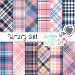 Navy and Pink Plaid Digital Patterns