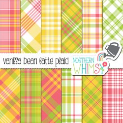 plaid in spring colors - vanilla bean latte