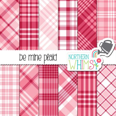 This Valentine's Plaid digital paper set package includes twelve plaid patterns in pink, white, and raspberry red. The diagonal patterns are not seamless, but the vertical/horizontal plaids are seamless and can be tiled.