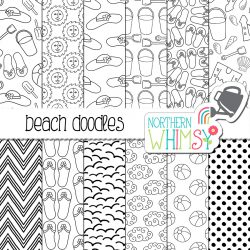 These black and white beach doodle digital paper set includes twelve hand drawn seamless patterns. The patterns include buckets and shovels, suns, beach hats, sandals, seagulls, sandcastles, and beach balls. These papers would make fun coloring pages, or cute web backgrounds!