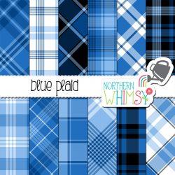 Blue plaid digital paper pack. Twelve plaid patterns.