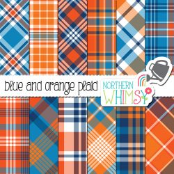 This blue and orange plaid digital paper is great for boys' projects and products. This package includes twelve digital papers with plaid patterns in pumpkin orange, bright orange, navy blue, bright blue, and white. The diagonal patterns are NOT seamless, but the vertical/horizontal plaids are seamless and can be tiled.