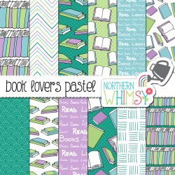 These Book Seamless Patterns are a pastel variation on our Book Lover's Digital Paper. This package includes twelve digital papers with hand drawn book patterns. The colors in this package are pastel blue, lavender purple, mint green, and teal. These patterns are great for back-to-school projects!