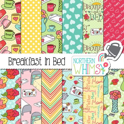 This whimsical Mother's Day digital paper set includes twelve hand drawn seamless patterns, including mugs, trays, beds, and bouquets. The colors in this package are pink, mint, blue, peach, and yellow.