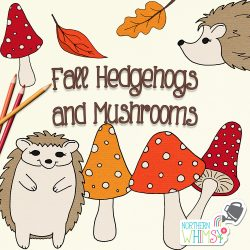 Hedgehogs and Mushrooms Clipart