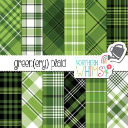 green Plaid digital paper