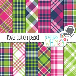 Hot Pink and Lime Plaid