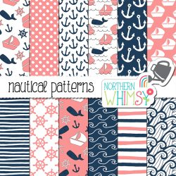 Navy and Pink Nautical Digital Patterns