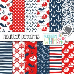 Navy and Red Nautical Digital Paper