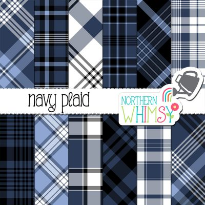 Navy Plaid Digital Patterns