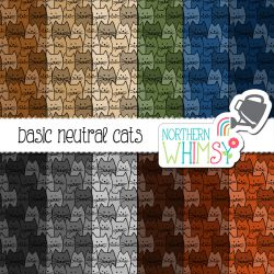 seamless cat pattern - neutral colors