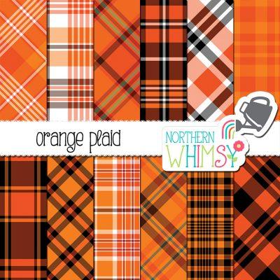 Orange Plaid Patterns
