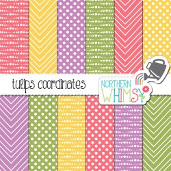 Pastel geometric designs - seamless patterns in pastel pink, purple, yellow and green.