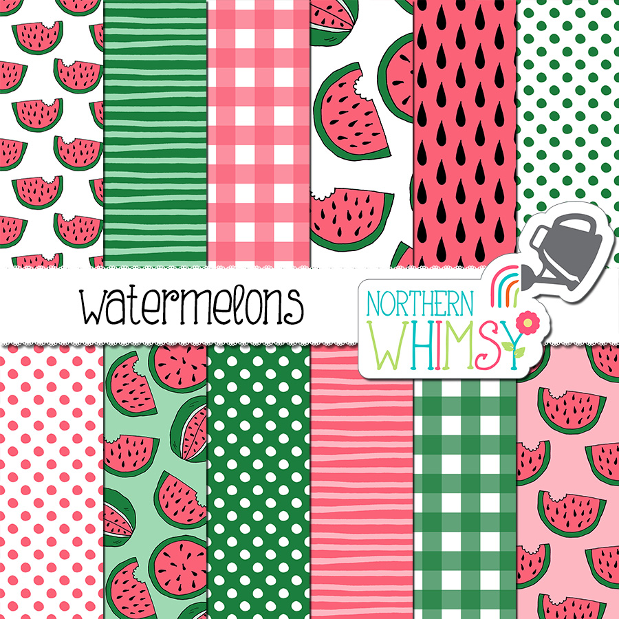 Watermelon Scrapbooking Paper Northern Whimsy Design