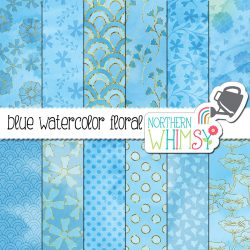 There are twelve pretty digital patterns in our blue floral backgrounds set. Hand drawn and hand painted, these high quality images are useful for any size of project.