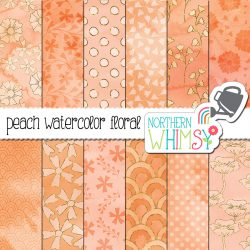 This pretty floral digital paper package includes twelve peach colored patterns on a hand painted watercolor background.