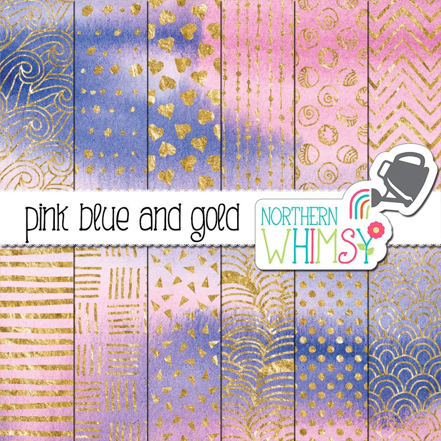 pink gold scrapbook paper art paint art print blue gold abstract galaxy Stan hand drawn printable 4 digital paper