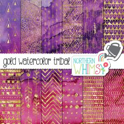 These boho digital paper patterns are gold set on a dramatic pink and purple watercolor background.