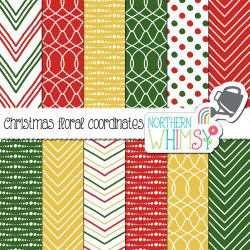 These Christmas geometric patterns are simple and versatile. Most of the patterns involve red and/or green, and gold is also used in some.