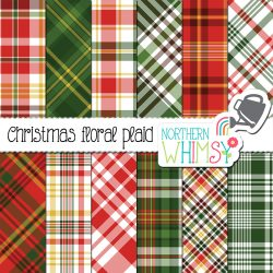 Red and green plaid patterns for use in any creative project.