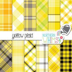 Yellow plaid digital paper patterns