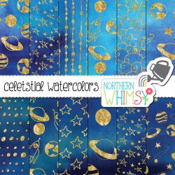 Commercial Use Space Digital Paper Dark blue and Navy backgrounds with gold foil patterns