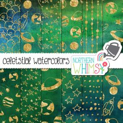 Hand drawn space patterns. Gold on dark green blue and black background.